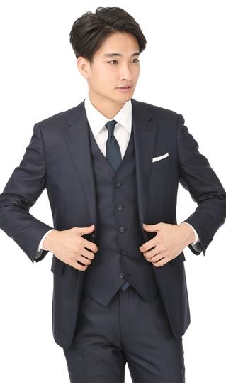 オールシーズン用 ネイビー系 【ストレッチ】【スリーピース】スタイリッシュスーツ PERSON'S FOR MEN
