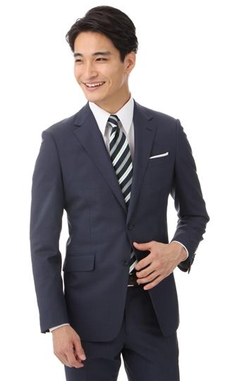 春夏用 ネイビー系 【イタリア製生地使用】【ストレッチ】【アクティブムーブ】スタイリッシュスーツ PERSON'S FOR MEN