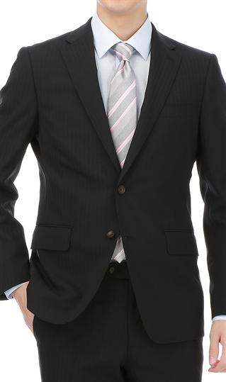 盛夏用 ブラック系 【アウトレット】現品限り【清涼(R)】【形状記憶プリーツ】【ツーパンツ】スタイリッシュスーツ PERSON'S FOR MEN