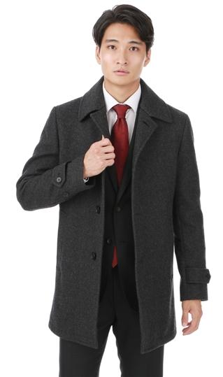 秋冬用 グレー系 【ウール100%】【ステンカラー】スタイリッシュコート PERSON'S FOR MEN
