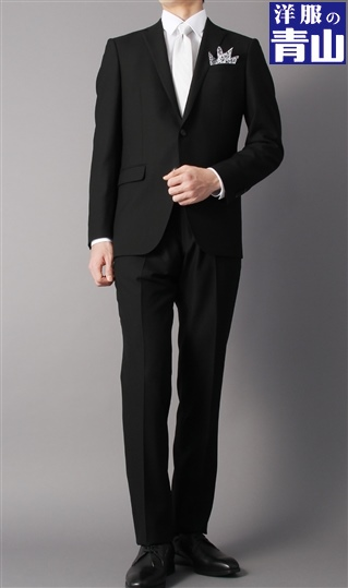 [YA体] スリーシーズン用 ブラックスーツ シングル スタイリッシュ フォーマル PERSON'S FOR MEN 洗練された細身シルエット