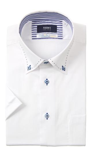 格安SALEスタート 盛夏用 アウトレットセール 特集 ホワイト系 ボタンダウンスタイリッシュワイシャツ《半袖》《COOLMAX》 MEN FOR PERSON'S