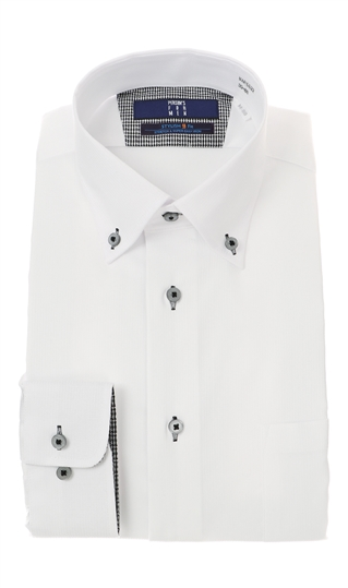 オールシーズン用 マーケティング ホワイト系 ボタンダウンスタイリッシュワイシャツ《ライクラT400ファイバー》 初売り PERSON'S MEN FOR