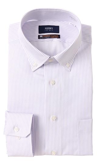 オールシーズン用 パープル系 激安格安割引情報満載 ボタンダウンスタイリッシュワイシャツ NON FOR PERSON'S 在庫処分 IRONMAX MEN