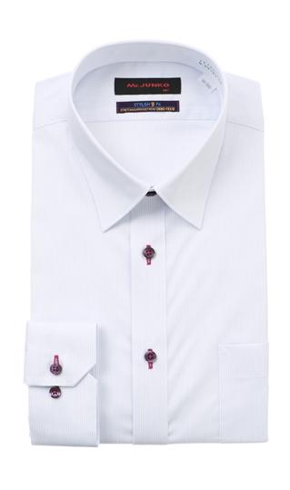 贈与 オールシーズン用 パープル系 レギュラーカラースタイリッシュワイシャツ II世 Mr.JUNKO 半額