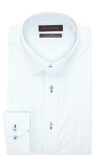 オールシーズン用 ブルー系 ワイドカラースタイリッシュワイシャツ Mr.JUNKO 日本製 発売モデル II世 商舗