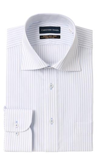 感謝価格 日本最大級の品揃え オールシーズン用 ブルー系 ワイドカラースタンダードワイシャツ《コットン100%》 CHRISTIAN ORANI