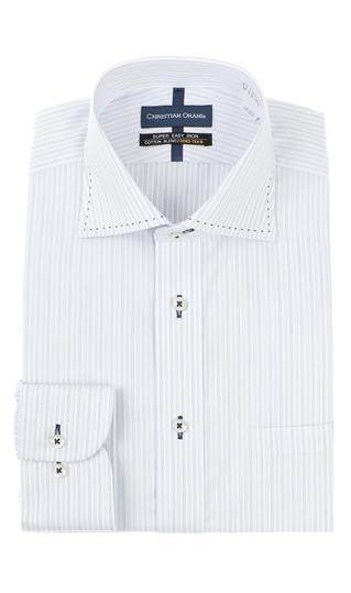 新作送料無料 オールシーズン用 ブルー系 ワイドカラースタンダードワイシャツ 品質保証 CHRISTIAN ORANI
