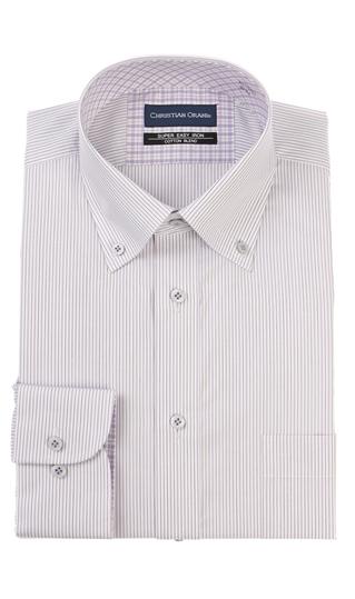 オールシーズン用 パープル系 ボタンダウンスタンダードワイシャツ 100%品質保証 ORANI CHRISTIAN お気に入