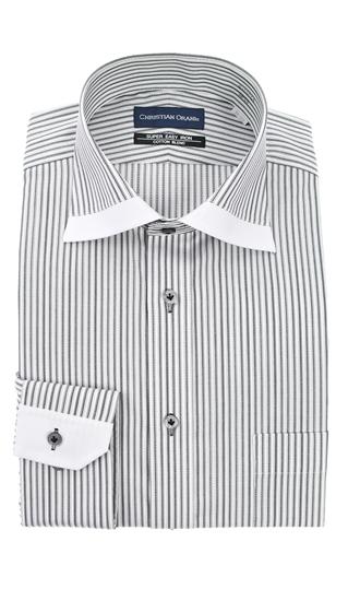 オールシーズン用 いつでも送料無料 グレー系 ワイドカラースタンダードワイシャツ ORANI CHRISTIAN メーカー在庫限り品