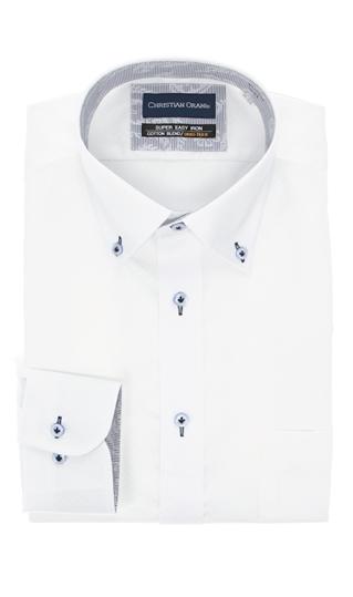 専門店 オールシーズン用 ホワイト系 ボタンダウンスタンダードワイシャツ 時間指定不可 ORANI CHRISTIAN