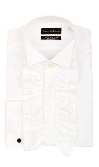 オールシーズン用 ホワイト系 【フリル付】ウイングカラードレスシャツ CHRISTIAN ORANI BLACK LABEL