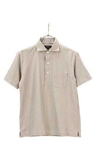 形態安定加工最高峰 春夏用 ブラウン系 ワンピースカラーポロシャツ NON LABEL CHRISTIAN 買い物 BROWN ORANI IRONMAX 激安通販