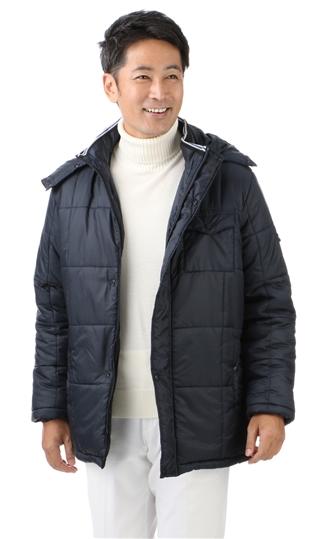 秋冬用 ネイビー系 【中綿】【取り外しフード付】カジュアルハーフコート DUNLOP
