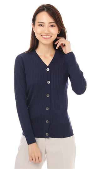 秋冬用 ブルー系 長袖 Vネック 新色追加して再販 PERSON'S レディースカーディガン WOMAN ANCHOR 記念日