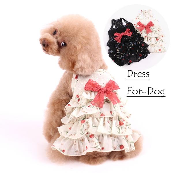 犬 服 贈答品 公式通販 犬服 夏 花柄 リボン付き ブラック ホワイト シフォン 薄手 ワンピース 春夏