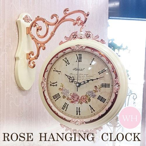 [P5倍 4/16 2時まで] ローズ・両面ハンギングクロック(ホワイト) 時計 壁掛け おしゃれ ウォールクロック 【送料無料】