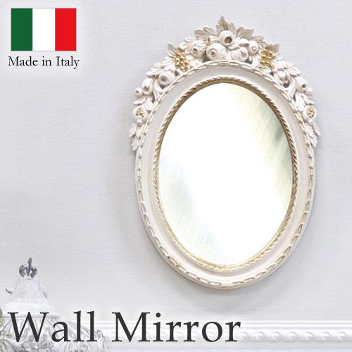 ウォールミラー 壁掛け 鏡 ミラー アイボリーゴールド フラワー オーバル おしゃれ イタリア製 【送料無料】