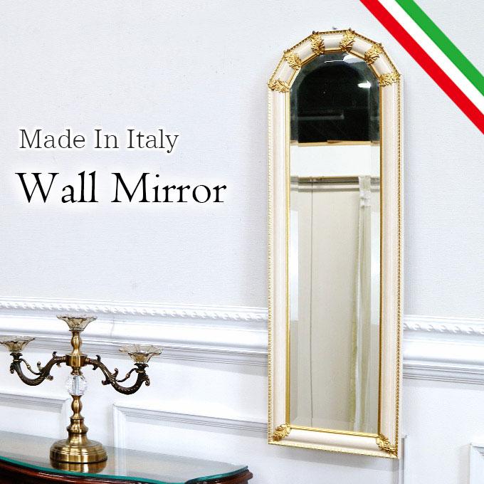 スリムウォールミラー 壁掛け鏡 ミラー 鏡 姿見 幅30cm スリム 省スペース イタリア製 おしゃれ 高級 ロココ調 可愛い アンティーク アイボリー 白 ホワイト 【送料無料】