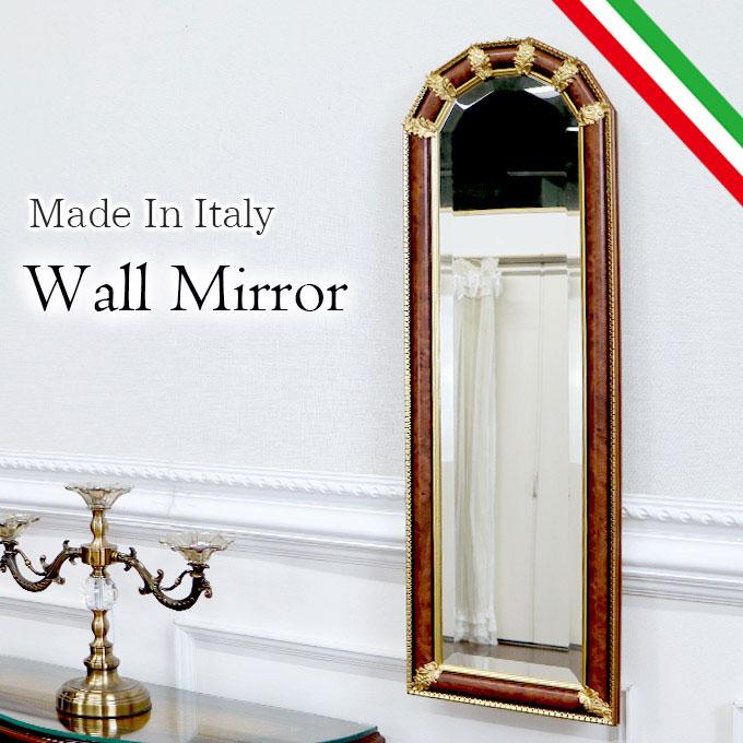 スリムウォールミラー 壁掛け鏡 ミラー 鏡 姿見 幅30cm スリム 省スペース イタリア製 おしゃれ 高級 アンティーク バロック ブラウン 茶色 BR 【送料無料】