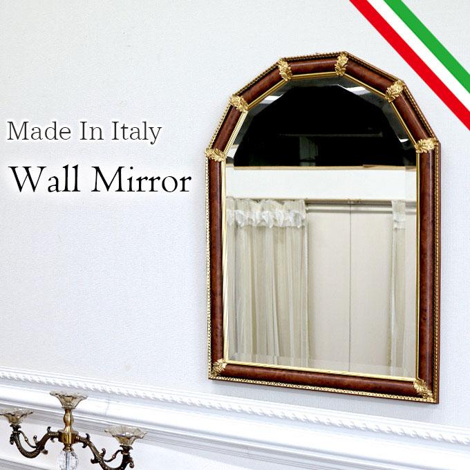 [P5倍 4/16 2時まで] ウォールミラー 壁掛け鏡 ミラー 鏡 姿見 幅60cm イタリア製 おしゃれ 高級 バロック ブラウン ゴールド アンティーク 茶色 BR 【送料無料】