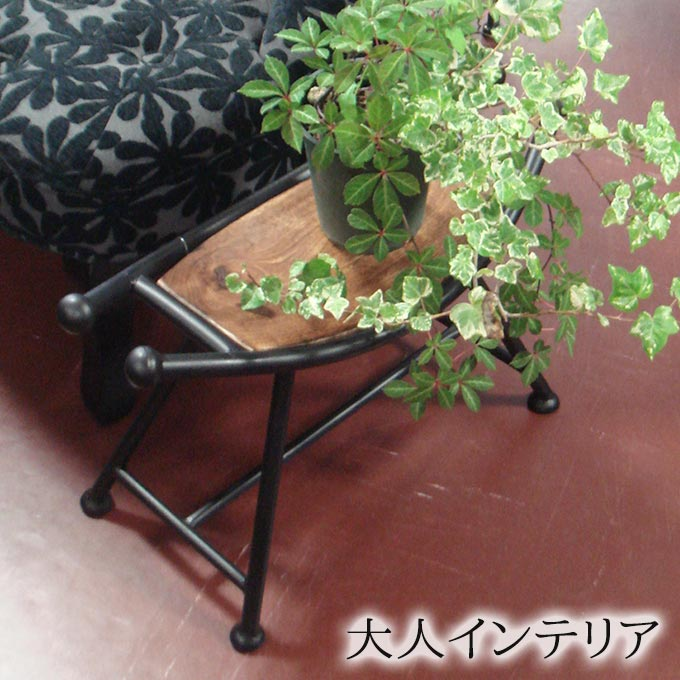 [10%OFFクーポン配布中] スツール ウッド アイアン 椅子 チェア インド製 おしゃれ マンゴーウッド アンティーク 木製 イス アジアン 天然木 木目 玄関 鏡台 化粧台 腰掛け ウッドチェア