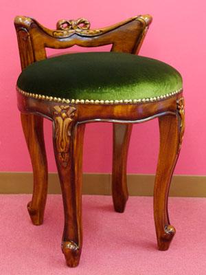 背もたれスツール(ベロアグリーン) スツール 木製 おしゃれ イス チェア 椅子 猫脚 マホガニー ベネシア 【送料無料】