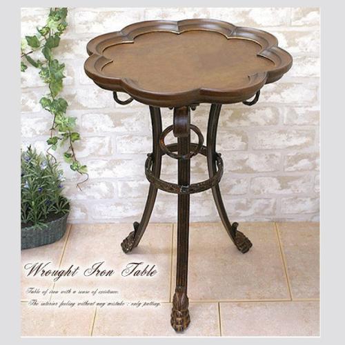 アイアン 木製テーブル サイドテーブル おしゃれ 茶色 アンティーク 木製 アイアン 重厚感 木 アイアンシリーズ 【送料無料】