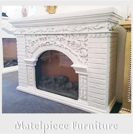 [P5倍] マントルピース型コンソール・WH(暖炉)(フェイクファー付き), 【送料無料・開梱設置付き】