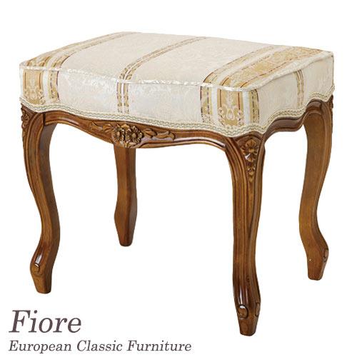[10%OFFクーポン配布中] フィオーレ Fiore ストライプホワイトツールスツール 木製 おしゃれ イス チェア 椅子 猫脚 ヨーロピアンクラシック Fiore 【送料無料】