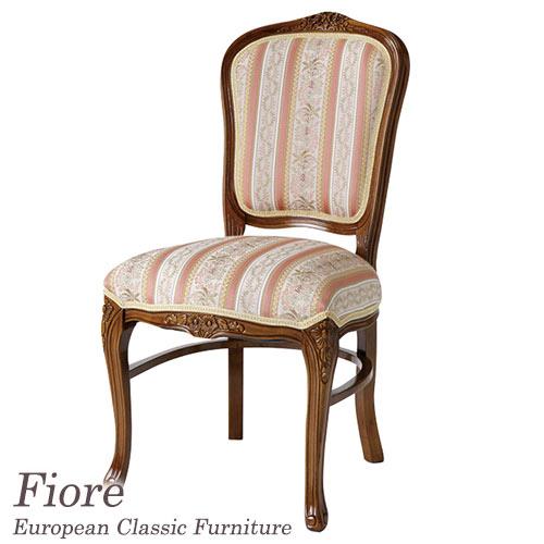 [P5倍 4/16 2時まで] フィオーレ Fiore ストライプピンクチェア 椅子 イス おしゃれ 猫脚 茶 ブラウン アンティーク 木製 ヨーロピアンクラシック Fiore 【送料無料】