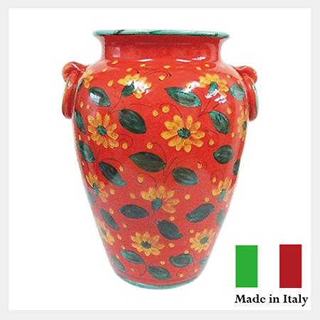 フラワー傘立(ツボ型) 傘立て 壺 ツボ イタリア製 陶器 【送料無料】