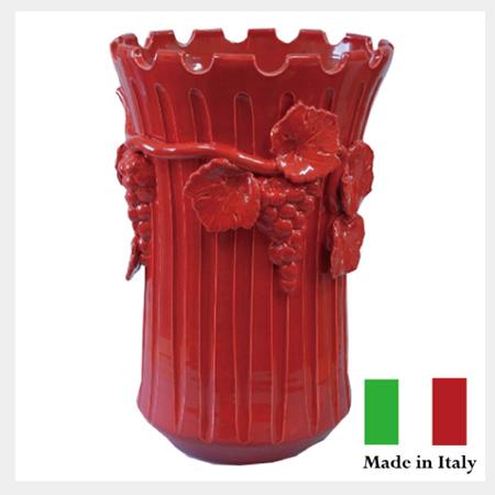 傘立 ぶどうの傘立レッド 傘立て 壺 ツボ イタリア製 陶器 【送料無料】