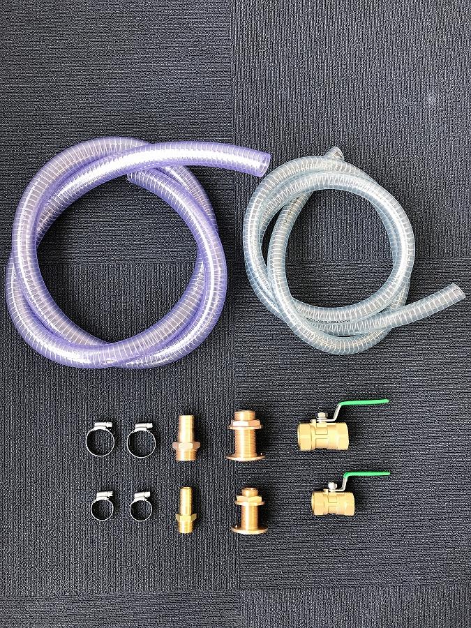 マリントイレ 金具セット 3/4(19mm)×11/2(38mm) 大口径ストレート マリントイレホース