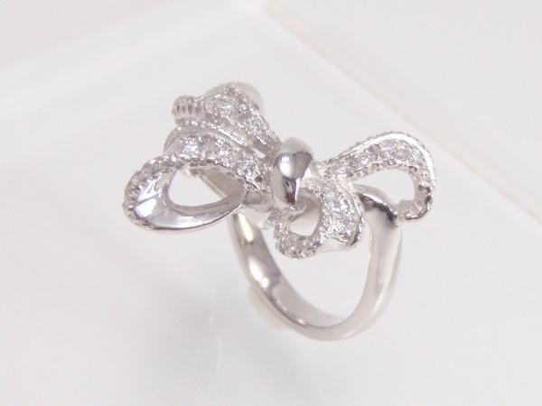 指輪 Pt900 プラチナ ダイヤリング 0.12ctリボンモチーフ 【中古】【程度A】【質屋出品】【新品仕上げ済み】【ノーブランド】