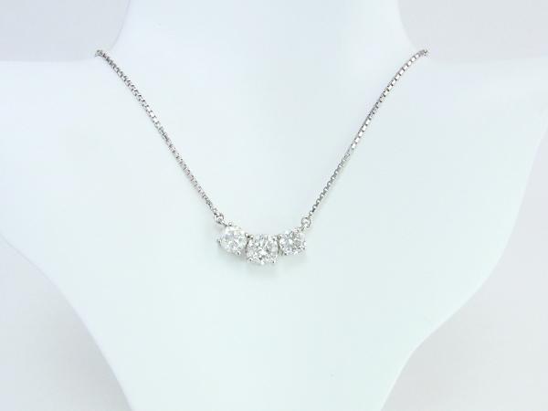 【予約販売品】 Pt850 プラチナ ダイヤモンド ネックレス 1.58ct 3連ダイヤ 【】【程度A】【ノーブランド】, メンズファッション通販 LEADMEN fc360630