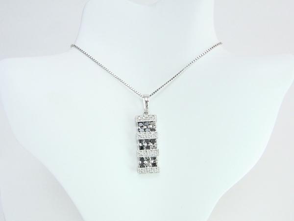 K18WG ホワイトゴールド ダイヤモンド ネックレス ブラックダイヤ/メレダイヤ 1.00ct 【中古】【程度A】【ノーブランド】