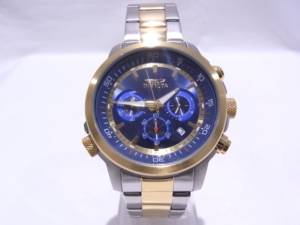 INVICTA インヴィクタ SPECIALITY 19399 クロノグラフ コンビカラー ブルー文字盤 メンズ 腕時計 【中古】【程度A+】【極上美品】
