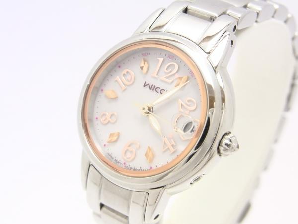 【中古】【程度A-】【良品】シチズン wicca ウィッカ ソーラーテック電波 電波ソーラー H0F8-R005235 ライトピンク文字盤 レディース 腕時計