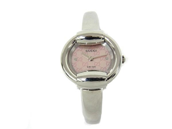 グッチ 1400L バングルウォッチ ピンクシェル文字盤 SS ステンレス レディース 腕時計 【中古】【程度A+】【美品】