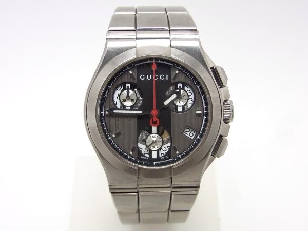 【値下げしました】【中古】【程度B】【お買い得価格】グッチ チタニウム クロノグラフ YA124401 ボーイズ 腕時計