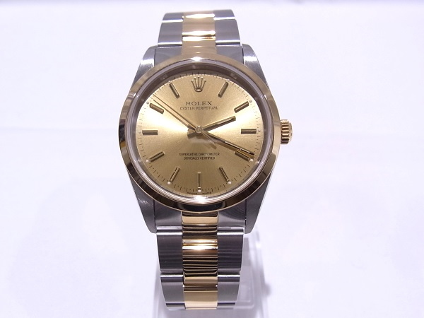 【OH済み】ロレックス オイスターパーペチュアル 14203 メンズ コンビ シャンパンゴールド文字盤 A番シリアル 腕時計 【中古】【程度A】【美品】