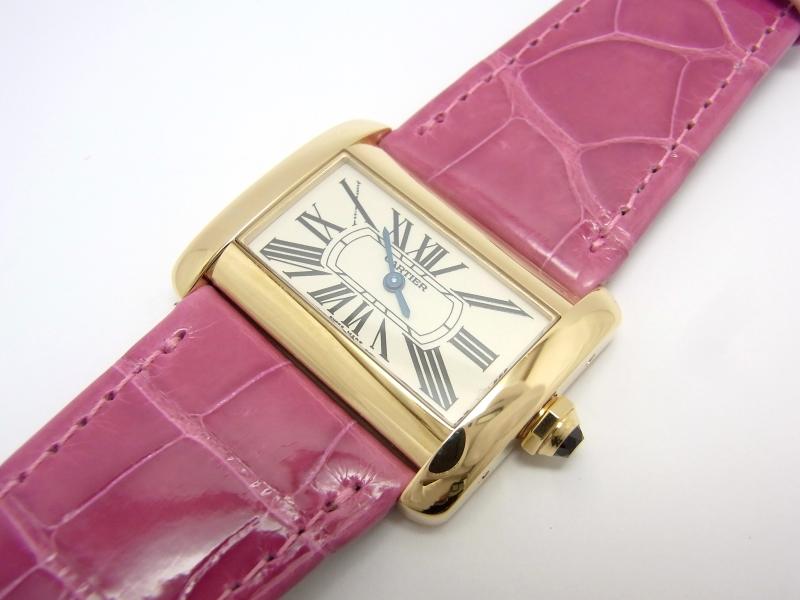 【中古】【程度A】【仕上げ済み】【純正ベルト交換】カルティエ ミニディヴァン 750YG W6300356 金無垢 クオーツ 腕時計