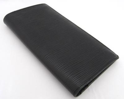 【中古】【程度B】【良品】ルイヴィトン ポルトフォイユ・ブラザ エピ ノワール M66542 メンズ 二つ折り長財布