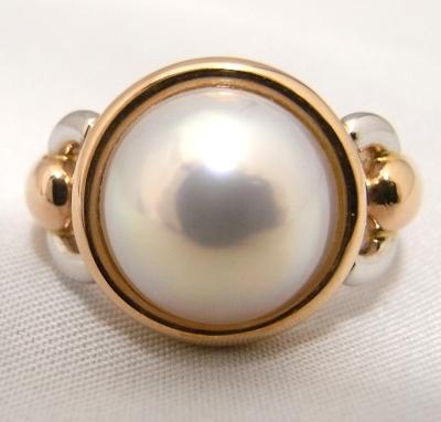 【ノーブランド】【質屋出品】【中古】【美品】K18/Pt900 デザインリング 指輪マベパール入りファッションリング