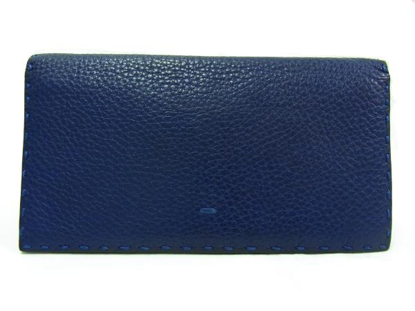 【中古】【程度A】【美品】フェンディ FENDI セレリア 二つ折り 長財布 カーフレザー 青 ブルー