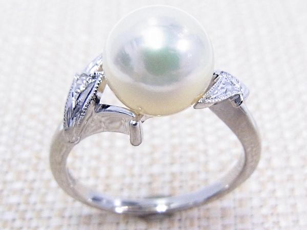 【中古】【程度A】【美品】ミキモト MIKIMOTO パールリング Pt900 プラチナ 指輪 リング サイズ12号