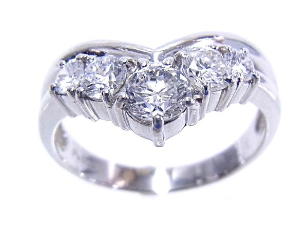 【中古】【程度A】【質屋出品】【新品仕上げ済み】【ノーブランド】指輪 Pt900 プラチナ ダイヤリング 合計1.00ct 5石