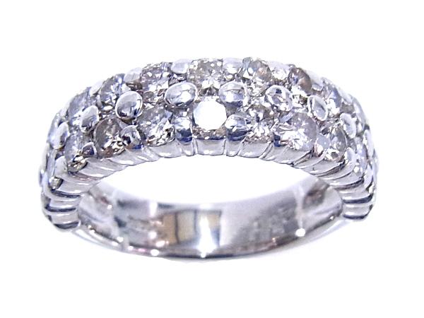 【中古】【程度A-】【質屋出品】【ノーブランド】指輪 Pt1000 プラチナ ダイヤリング 合計2.00ct 2列ダイヤ