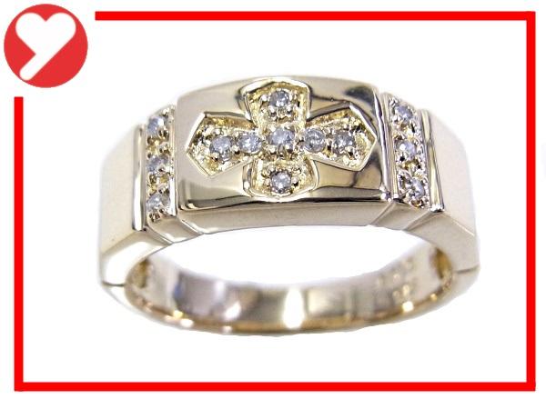 【中古】【程度A】【美品】K18 YG イエローゴールド 指輪 ダイヤ合計0.09ct ノーブランド リング